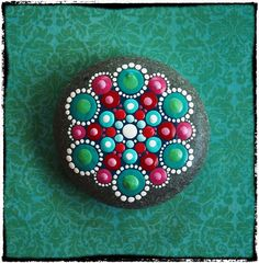 Jewel Drop Mandala Painted Stone Rubies and by ElspethMcLean, $30.00