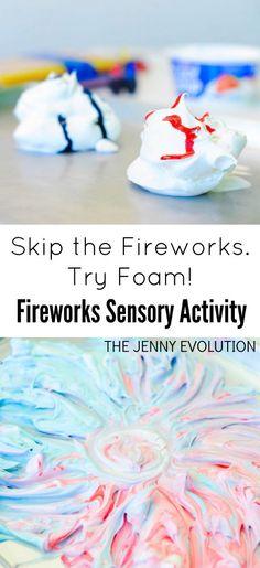 4th of July Fireworks Foam Sensory Activity | The Jenny Evolution