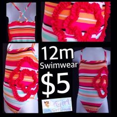 Swimwear Size 12m Pink and Orange Striped/Ruffled Flower Design ONLY $3.  Baby Girl Heaven is having a huge sale!  Follow us on Facebook