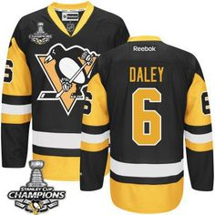 Men's Pittsburgh Penguins #6 Trevor Daley Black Third Jersey W/2016 Stanley Cup Champions Patch