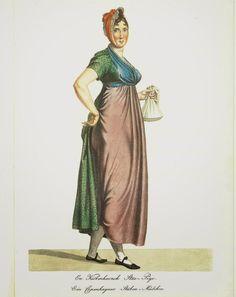 Københavnsk stuepige (Copenhagen chamber maid), print by G. L. Lahde. Danish, Ca 1810.