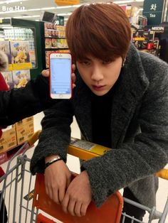 """This is BTS's JIN that called for STARCAST of JIN, by JIN, and for JIN since several months before. He found the supermarket for 'Chef JIN's food for the New Year's Day' corner which he prepared ambitiously. He started to shop with JIMIN and JUNG KOOK that were chosen as 'Today's Slave'. He will make the steady-sellers among the food of the New Year's Day today. Those are rice-cake soup and Korean kebab. """"JIN """"I'm watching you-.- Put them in without missing out anything"""""""