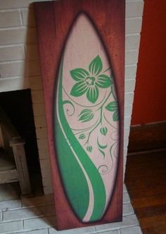 LARGE 3.5 FT GREEN SURFBOARD PAINTING FRAMED CANVAS PRINT ARTWORK Surfing Decor #Tropical