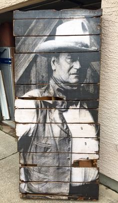"Pallet Portraits  This ones 7' tall x 32"" wide The DUKE! Any image!  Rear View Vintage Home Decor Frisco, TX   Facebook link  https://www.facebook.com/pages/Rear-View-Vintage-Home-Decor/312345868832212"