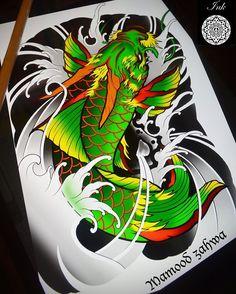 Koi Fish Drawing, Koi Fish Tattoo, Fish Drawings, Koi Tattoo Sleeve, Japanese Sleeve Tattoos, Small Dragon Tattoos, Dragon Tattoo Designs, Koi Tattoo Design, Koi Art