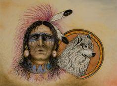 Greet van Viegen - Indiaan met wolf