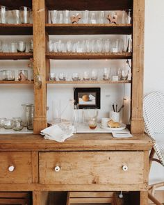 rustic kitchen shelving photographed by tessa neustadt. Kitchen Cabinet Interior, Refacing Kitchen Cabinets, Kitchen Cabinet Doors, Painting Kitchen Cabinets, Interior Design Kitchen, Kitchen Furniture, Kitchen Cabinetry, Kitchen Designs, Country Look