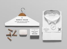 Nordic House is a a dry-cleaning company based in San Francisco who employed the branding talents of Anagrama from Mexico to develop the identity of its shop. Identity Design, Brand Identity, Visual Identity, Collateral Design, Design Agency, Brand Packaging, Packaging Design, Fashion Packaging, Packaging Ideas
