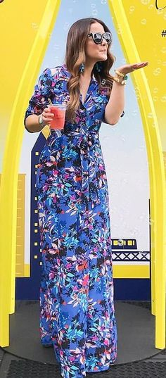 #summer #outfits  Blue Floral Maxi Dress