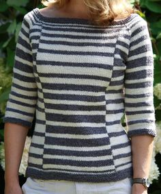 "Knitting Pattern for Albers Pullover - Love the staggeredd stripe pattern in this pullover sweater with three quarter sleeves. The intarsia technique minimizes ends for a quick, easy finish. 34 (37¼, 42¼, 46, 50¾)"" bust circumference. Designed by Julia Farwell-Clay Pictured project by MadMad"