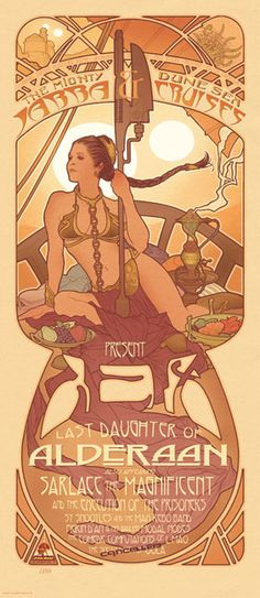 Art Noveau style poster for Princess Leia on Jabba's barge by Adam Hughes.