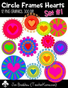 Circle Frames Hearts Set #1 clipart.  These sweet graphics are perfect for classroom educational products that you sell on Teachers Pay Teachers or other sell sites.  Use them for Valentine's Day, Mother's Day, or ANY DAY!  Commercial and personal use is ok.  TeacherKarma.com