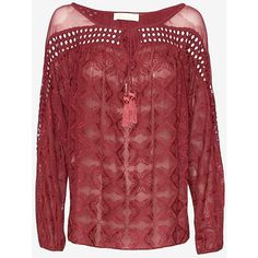 Love Sam Crochet Silk Blouse ($69) ❤ liked on Polyvore featuring tops, blouses, boho tops, crochet blouse, red crochet top, crochet top and red silk blouse