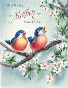 vintage Hallmark Mother's Day card bluebirds