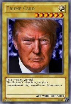 "Donald Trump Card"" Sticker by Alkoal , Yugioh Trap Cards, Funny Yugioh Cards, Funny Cards, Yu Gi Oh, Best Memes, Dankest Memes, Funny Memes, Hilarious, Reaction Pictures"