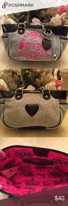 "EUC JUICY COUTURE HANDBAG Juicy couture handbag..excellent condition..used only a handful of times..grey velour with hot pink stitching..small pocket with zipper on inside..closes with magnet button..small smear on silver heart embellishment..dimensions: 13"" x 7""..refer to pics.. Juicy Couture Bags Totes"