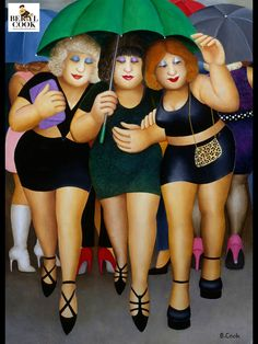 Signed Limited Edition Print Clubbing in the Rain by the artist Beryl Cook Umbrella Art, Under My Umbrella, Beryl Cook, Sculpture Textile, Plus Size Art, Fat Art, Pin Up, Fat Women, Alex Colville
