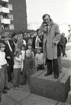 Max Scheler  Rudolf Augstein im Wahlkampf für die FDP, Paderborn, Germany  1972