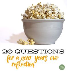 20 questions for a New Years Eve reflection. Download and print to journal solo, discuss with your spouse, or chat with friends at a low-key gathering. It's an annual tradition for us!