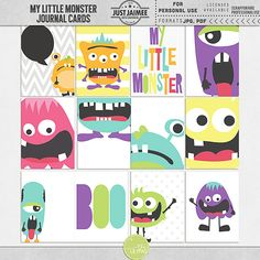 My Little Monster Journal Cards