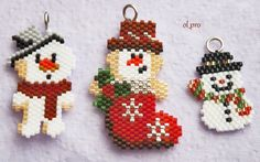 Cross Stitch Christmas Ornaments, Christmas Ornament Crafts, Christmas Jewelry, Bead Loom Patterns, Beaded Jewelry Patterns, Beading Patterns, Beaded Crafts, Wire Crafts, Hama Beads Design