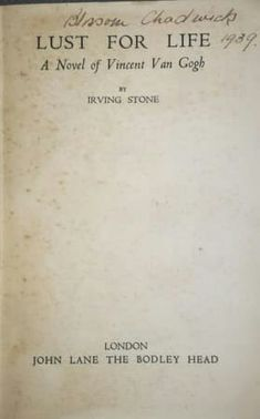 Irving Stone, Lust For Life, Book Collection, Novels, Books, Vintage, Libros, Book, Vintage Comics