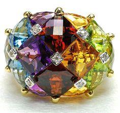 Bellarri 18k Gold, Amethyst,Topaz,Citrine,Peridot,Diamod Ring #Precious_Posts @PreciousPosts