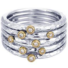 925 Silver/18k Yellow Gold Diamond Fashion Ladies' Ring | Gabriel & Co NY | LR6120MY5JJ