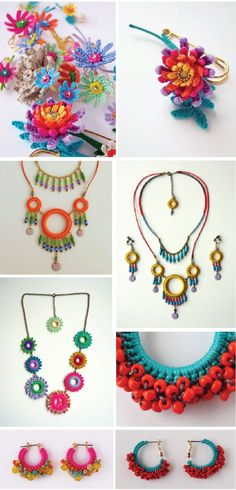 crochet jewelry Crochet Tableau, Textile Jewelry, Crochet Jewellery, Macrame Jewelry, Fabric Jewelry, Jewelry Crafts, Jewelry Ideas, Bead Crochet, Crochet Yarn