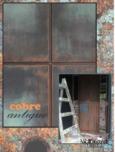 Pátina cobre antiguo realizada sobre puerta de hierro.