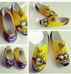 a3666488ec58af Be original with this amazingly high detailed custom Minion Vans - minion  Canvas Shoes airbrush sneakers.