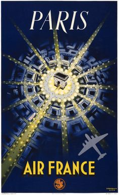 Paris travel poster. Air France. Vintage Paris. Air France. Trans-Canada Air Lines. Illustrated by P. Baudouin, 1947.