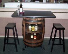 "White Oak Whiskey Barrel Bar-Table-Cabinet-Wrought Iron Stand-(2) 29"" Bar Stools #AuntMollysBarrelProducts"