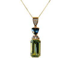 Rare Green & Blue Topaz Pendant - The Goldsmiths & Silversmiths Co. Collection