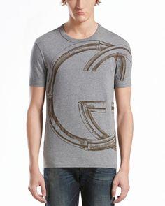 GUCCI - Interlocking-G Print Jersey Tee, Light Gray