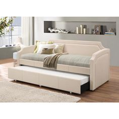 Baxton Studio Paraskeve Modern and Contemporary Fabric Curved Notched Corners Sofa Twin Daybed with roll-out Trundle Guest Bed
