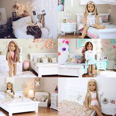 These are all my doll rooms I've made. My first one of McKenna compared to s… - American Girl Dolls American Girl Bedrooms, American Girl Doll Room, American Girl House, American Girl Doll Pictures, American Doll Clothes, Ropa American Girl, American Girl Outfits, American Girl Crafts, Ag Doll House
