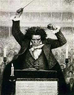"Picture of Beethoven conducting. Like Bach and Mozart, another indispensable figure in the history of music. I often think of Bach, Beethoven and Mozart as the ""Big Three""... just like GM, Ford and Chrysler used to be. Beethoven went deaf and apparently kept trying to conduct until it became painfully obvious that it just wasn't happening any more. Sad. What a great, emotionally rich composer."