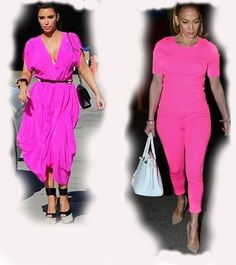 in pink Kim Kardashian VS Jennifer Lopez (JLo)  fashion diva who-wore-it-better celeb celebrity