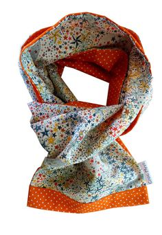 Foulard liberty adelajda multicolore et orange : Echarpe, foulard, cravate par crocmyys