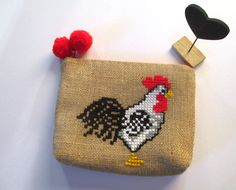 Rooster burlap pouch bag, cross stitch embroidery ,accessories pouch, handmade pouch, travel accessory by Apopsis on Etsy