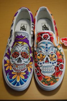 80c7cbacd7 54 Best Sugar Skulls Day of the Dead Hand Painted Shoe Ideas images ...