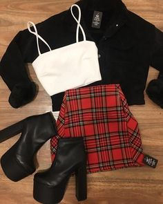 Edgy Outfits, Retro Outfits, Cute Casual Outfits, Fall Outfits, Christmas Outfits, Summer Outfits, Red Skirt Outfits, Dance Outfits, Girls Fashion Clothes