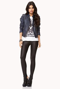 Forever21 Navy Faux Leather Jacket -- $45