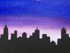 great from each other canvas painting diy, chalk paint furniture, sunset painting, chalk paint colors, painting rocks ideas. Check out other wonderful examples Star Painting, Skyline Painting, City Painting, Galaxy Painting, Blue Painting, Sunset Painting Easy, Cityscape Drawing, New York Painting, Cute Canvas Paintings