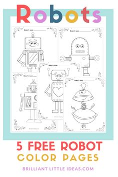 5 Free Robot Color Pages For Kids Printable Theme Fun Friday Print