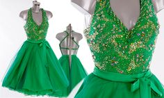 Strictly Come Dancing 2014 lovely Emerald green dress with net overlay