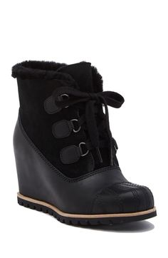 Image of UGG Alasdair Genuine Shearling Wedge Bootie Winter Wedges, Uggs, Bootie Boots, Wedge Bootie, Fall Shoes, Wedge Heels, Booty, Women Sandals, Walking