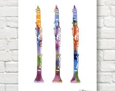 Clarinet Art Print  Abstract Watercolor Painting  by 1GalleryAbove