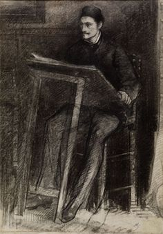 """Alfred Stevens self-portrait drawing, 1907. From """"100 Self-Portrait Drawings from 1484 to Today"""""""